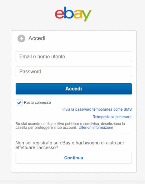 Accesso assistenza eBay