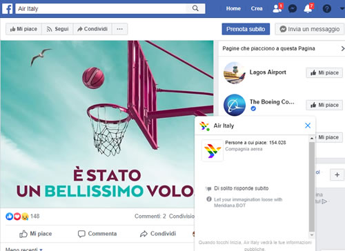 Assistenza su Facebook Air Italy
