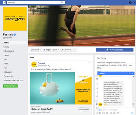 Contattare Fastweb sui social network