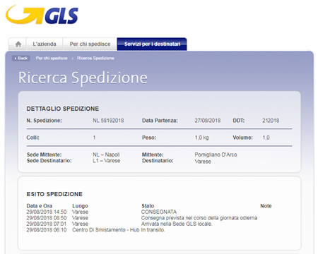 Consegna pacco GLS