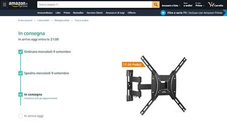 Tracciabilità delle spedizioni del Corriere Amazon