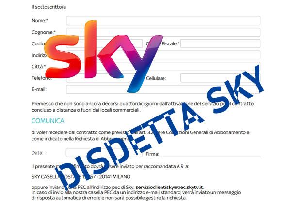 Disdetta Sky