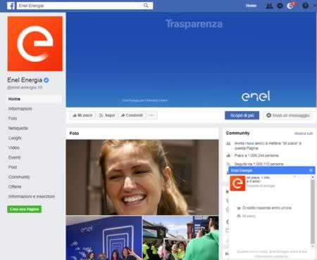 Pagina Facebook di ENEL