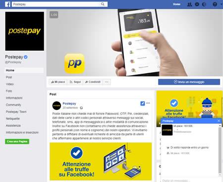 Servizio clienti Postepay su Facebook