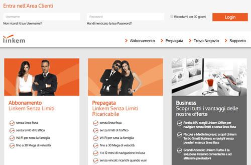 Area clienti portale Linkem