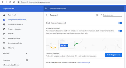 Salvare password in Google Chrome