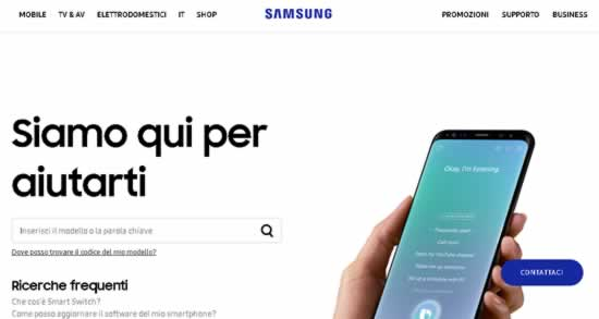 Contattare Samsung dal sito web