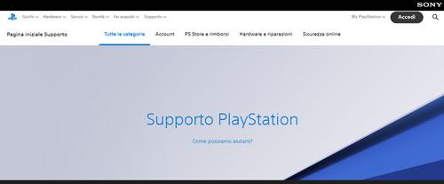 Supporto Playstation dal sito