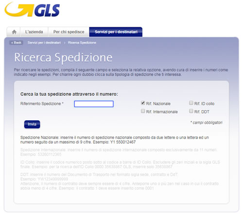 Tracking spedizioni GLS